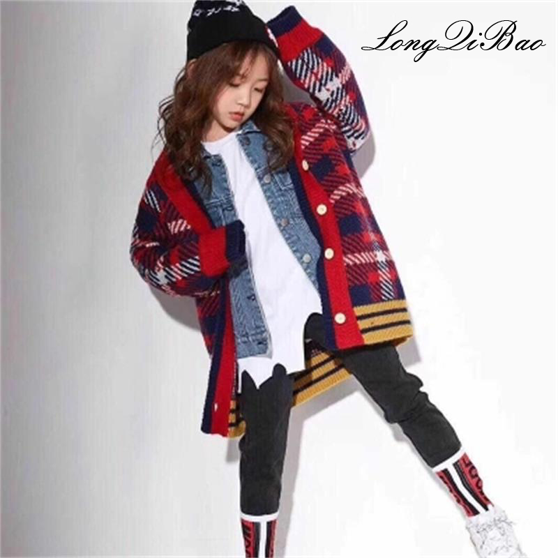 Girls sweater 2018 autumn and winter new children's long section long-sleeved thick cardigan sweater Korean version of the tide snowflake long sweater