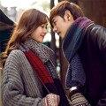 Invierno nueva pareja hit color de lana bufandas Hombres y mujeres caliente grueso de punto a rayas de cuello