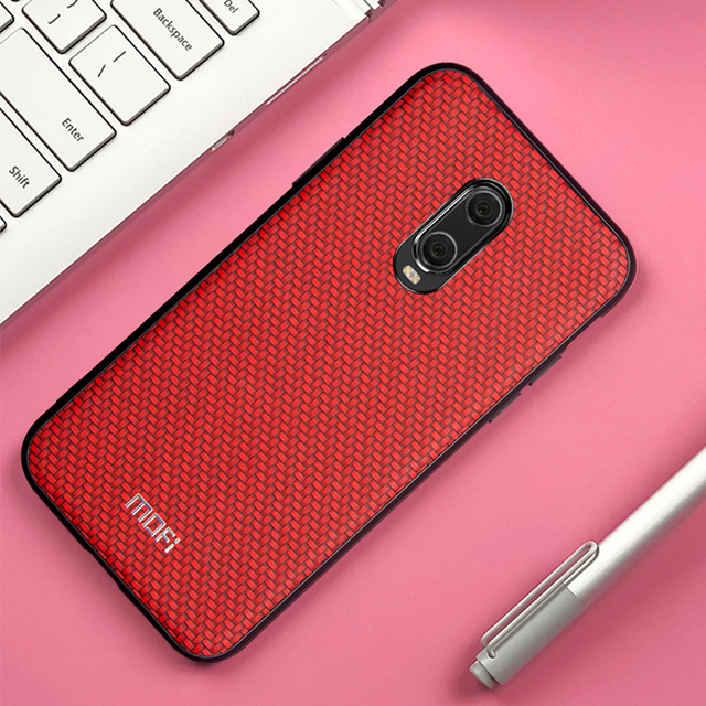 MOFi OnePlus 6T Luxury Weave Grain Style Shockproof Back Case Cover