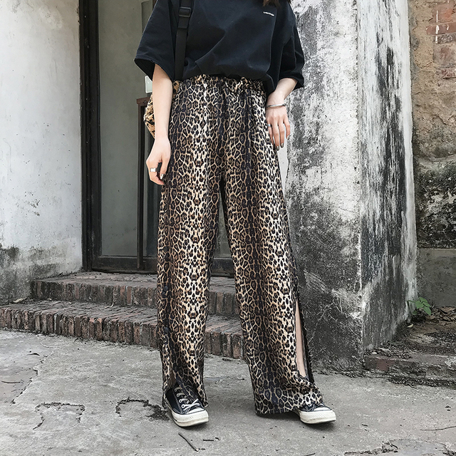 4f4a8b3030ad0 QLZW 2018 NEW FASHION spring Women Clothing Leopard Printed Vent Wide Leg  Pants Elastic Full Length Loose Free Size WB73101
