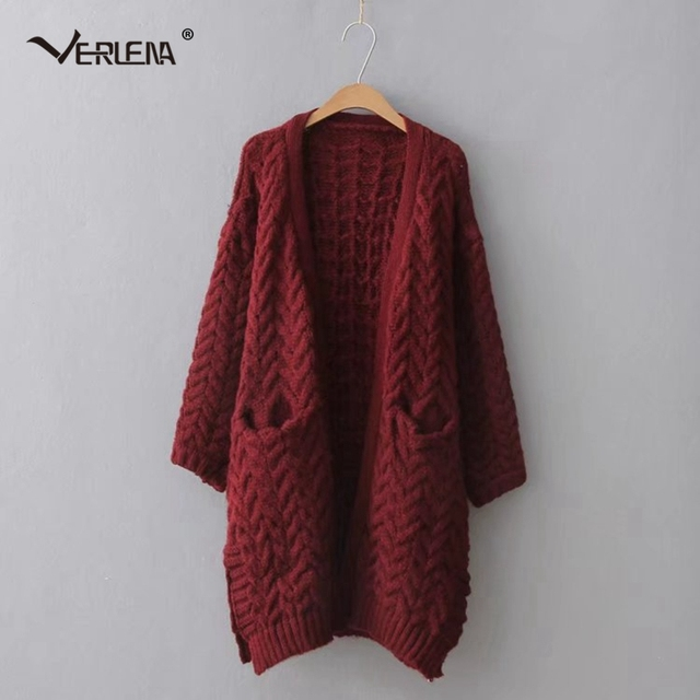9c95396bd39 Verlena 2019 Long Cardigan in Cable Female Chunky Oversized Long Knitted  Sweater Pockets Women Warm Thick Vintage Sweaters Coat
