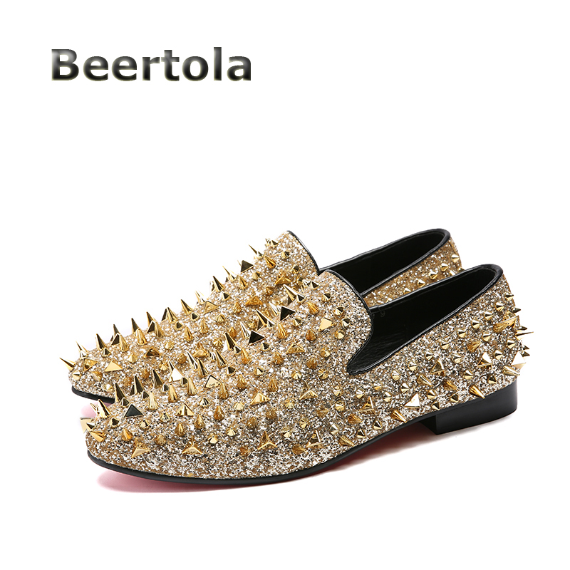 Gold Glitter Shoes Men Fashion Spiked Loafers Slip On Mens Shoes Large Sizes  Spikes Rivet Loafers 664313d355c7