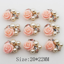 New 10Pc 20*22mm Oval Pearl Resin Roses Button Golden Metal Wedding Bride Holding Flowers Decorate Hair Accessories Scrapbook