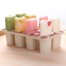 Creative 8 Cavity DIY Ice Cream Molds Popsicle Maker Wheat Straw lolly Moulds Sticks Homemade Kitchen Accessories