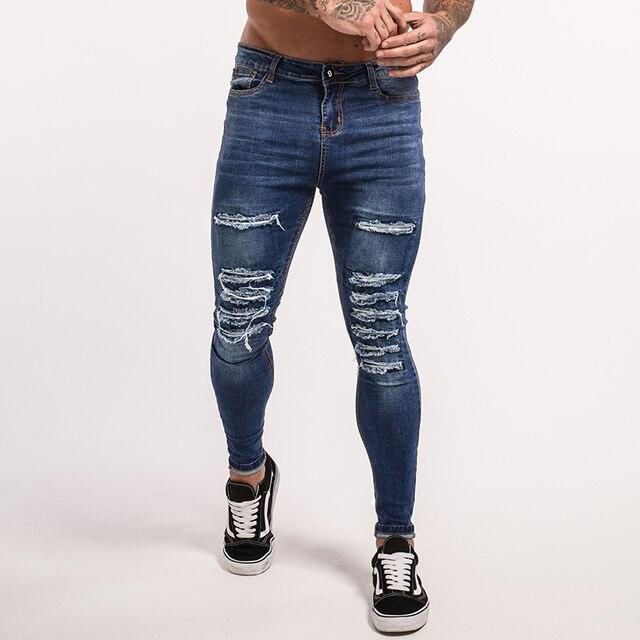 6344e0f777b Gingtto 2018 Для мужчин S синие джинсы с потертостями джинсы скинни мужской  хип-хоп Street