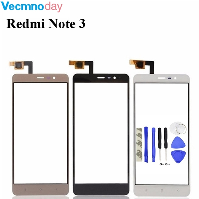 Vecmnoday Touch Screen For Xiaomi Redmi Note 3 Front Glass Touchscreen Sensor Digitizer Panel With Tracking Number+tape
