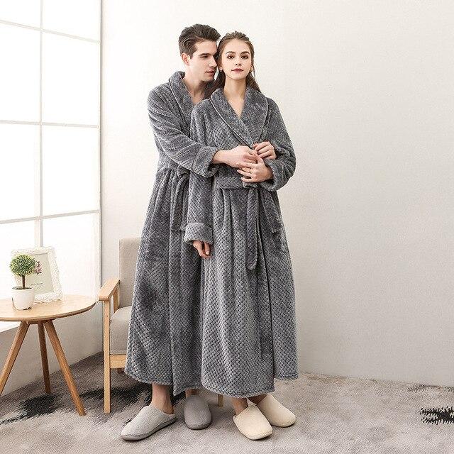 2ed640257d6b58 Homem e Mulher Inverno longo roupão de banho Flanela plus size mulheres  vestes sleepwear sexy feminino pijamas algodão