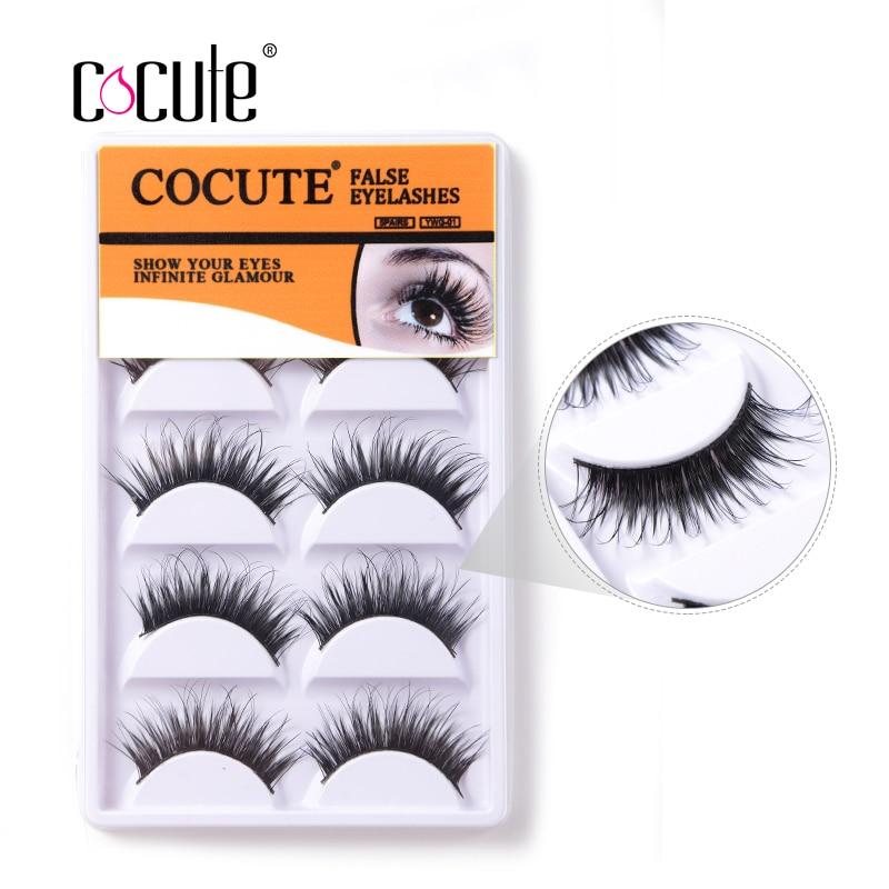 Cocute 5 Pairs /Set Thick False Eyelashes Long Handmade Fake Eye Lashes Women Lady Natural Extension Makeup Tools