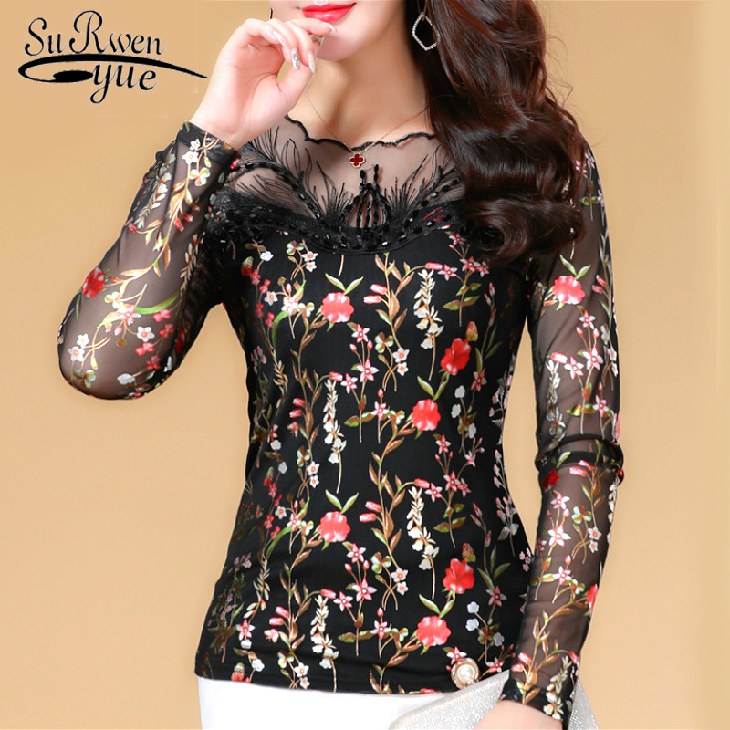 blusas mujer de moda 2019  Fashion women blouse shirt  plus size 4XL blusas Hollow Out office lady chiffon lace tops  1455 45
