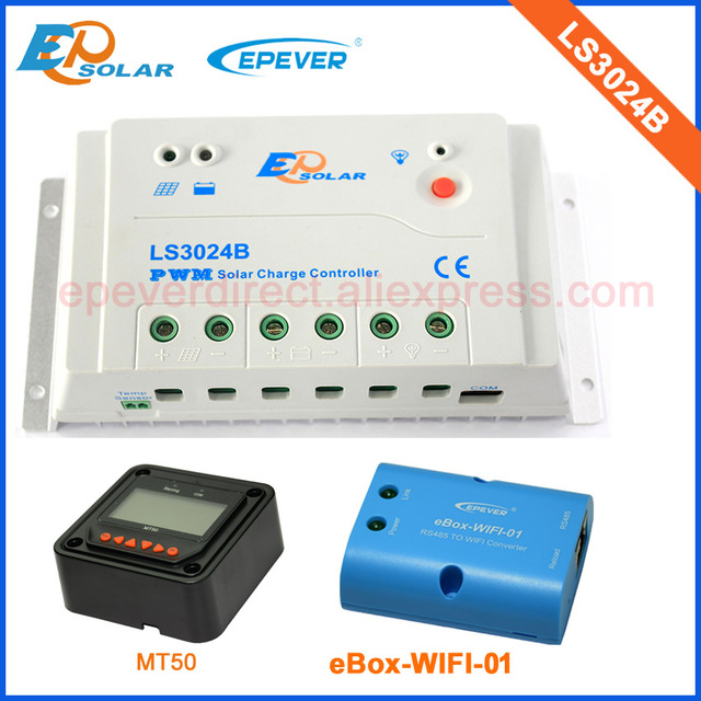 PWM 30a 30amp LS3024B solar system charger regulator 12v 24v auto work with wifi function connect APP and MT50 remote meter