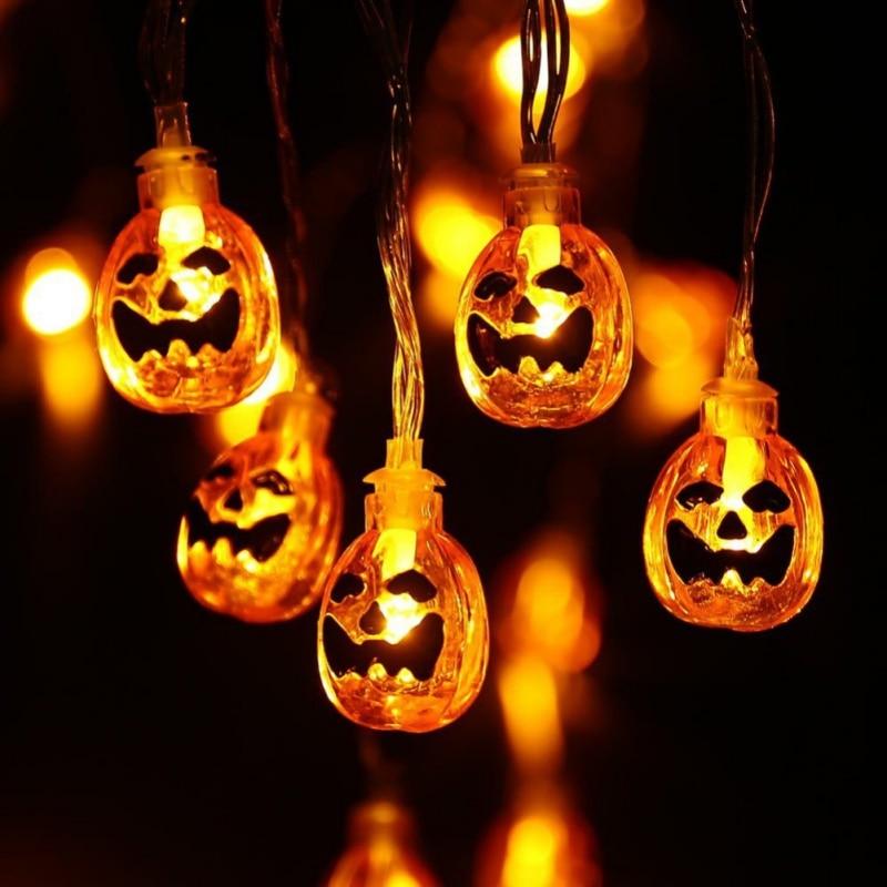 Halloween Lights Outdoor: Pumpkin String Lights With Clear Bulb Backyard Halloween