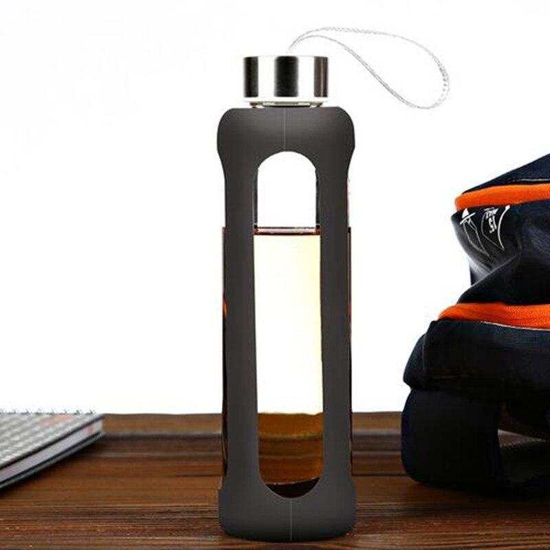 2017 550CC Verres Sport Bouteille D'eau En Verre Avec Silicone Isolation Bouilloire Creative Botella Agua Cristal
