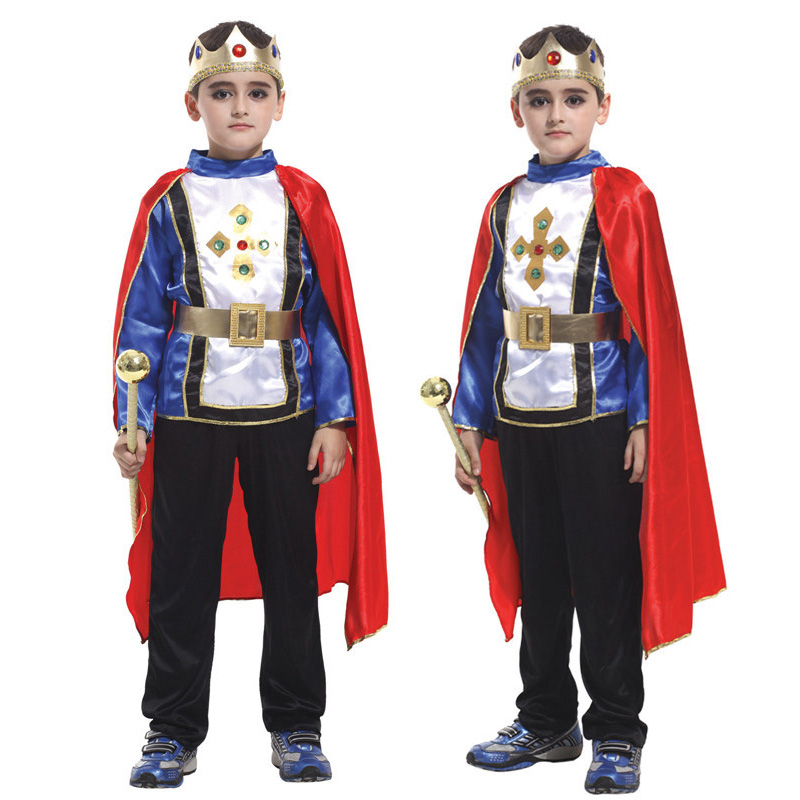 Children King Blue Costume Fancy Dress Christmas Halloween Prince Party Clothes Suit For 4-12 Years Kid Cosplay Costume