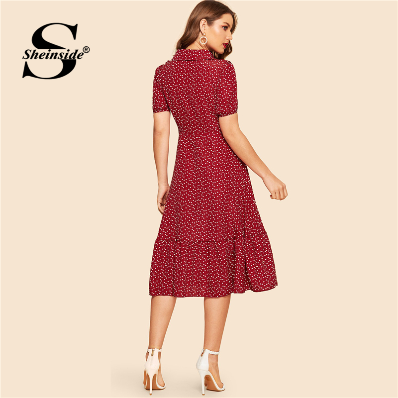 Sheinside Burgundy Ruffle Trim Heart Print Belted Shirt Dress Vintage Ladies Summer Dresses 2019 Peter Pan Collar Women Dress