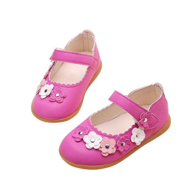 Fashion Children PU Sandals for Girls Floral Print Kids Sandals Solid Color Girls Princess Shoes Q1