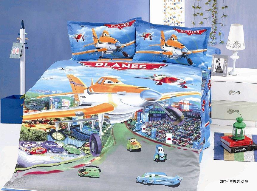 planes cartoon bedding sets childrens girls boy bedroom decor single twin size bed sheets quilt duvet