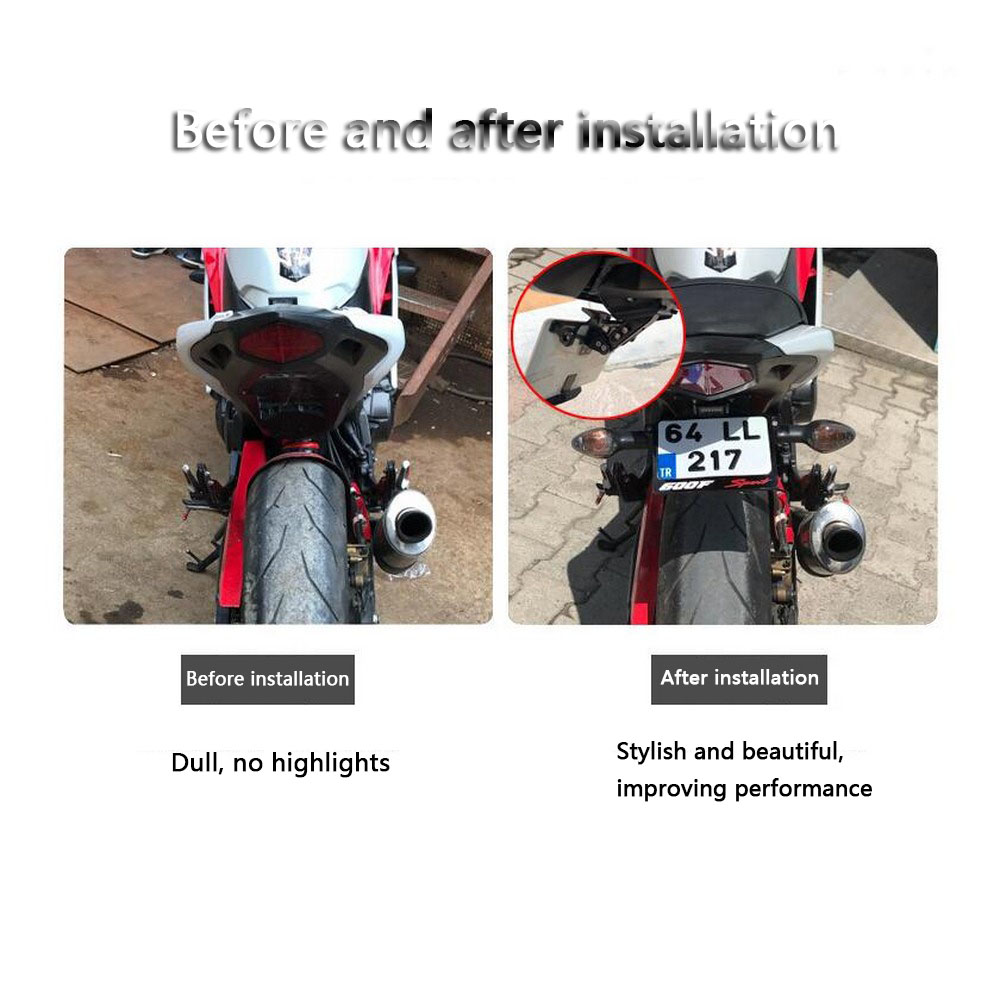 Image 5 - Motorcycle Plate License Bracket Modified Adjustable Telescopic Aluminum Universal Steering LED Light License Plate Frame-in License Plate from Automobiles & Motorcycles
