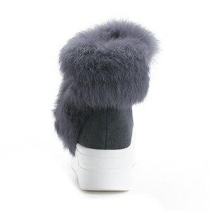 Image 4 - SWYIVYของแท้หนังผู้หญิงฤดูหนาวWarm Rabbit Furรองเท้าผ้าใบหิมะรองเท้าผู้หญิง2019รองเท้าบู๊ทข้อเท้าหญิงCausalรองเท้า
