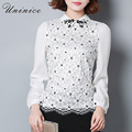 Beading Lace Flower Women Blouse Shirt Plus Size Patchwork Women Shirt Blouse Peter Pan Collar Brand Women Clothing Tops Blusas
