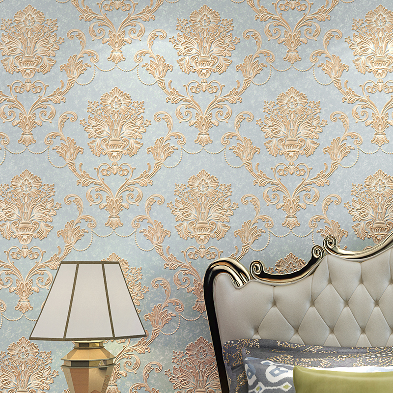 Luxury European Style Non-woven Damask Wallpaper 3D Relief Damascus Wallpapers For Bedroom Living Room TV Background Wall paper european luxury bronzing background wallpaper living room bedroom wallpaper for walls mural wall paper non woven wall paper roll