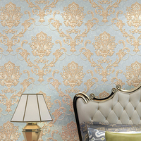 Luxury European Style Non woven Damask Wallpaper 3D Relief Damascus Wallpapers For Bedroom Living Room TV Background Wall paper