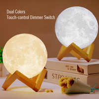 Zakoo Night Light Rechargeable 3D Print Moon Lamp 2 Color Touch Switch Bedroom Bookcase Home Decor