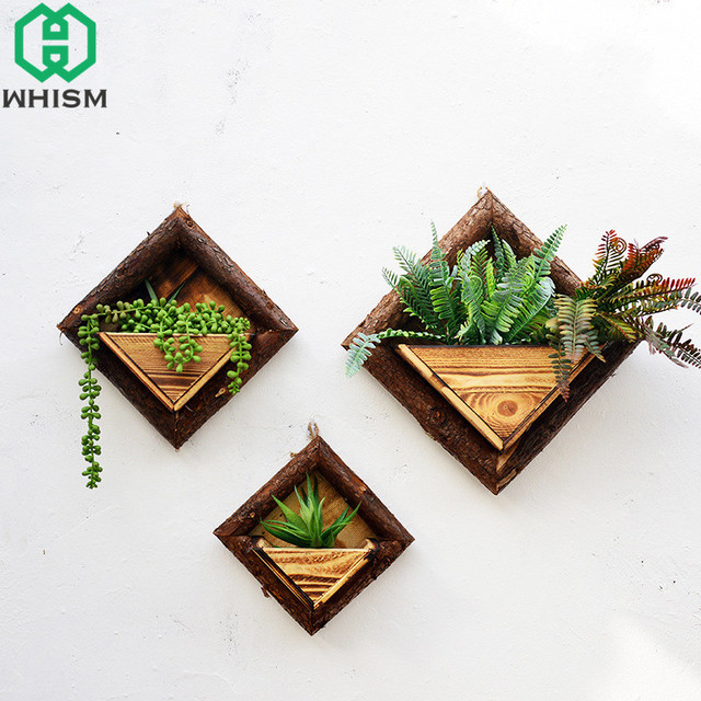 Whism Hanging Flower Basket Wooden Wall Planter Past Painted Wood Decorative Artificial Pot Home