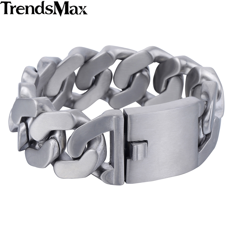 Trendsmax Herren Armbänder Hip Hop Matte Curb Kubanische Gliederkette 316L Edelstahl Armband Für Männer Schmuck Geschenke 27mm KHB409