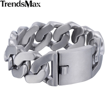 Trendsmax Mens Bracelets Hip Hop Matte Curb Cuban Link Chain 316L Stainless Steel Bracelet For Male Jewelry Gifts 27mm KHB409