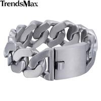 Trendsmax Men's Bracelets Hip Hop Matte Curb Cuban Link Chain 316L Stainless Steel Bracelet For Male Jewelry Gifts 27mm KHB409