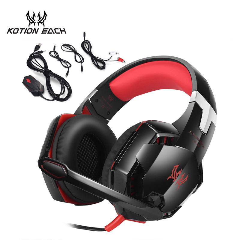 KOTION EACH GS600 Universal Headset Gaming Headphone for XBOX 360 PS3 PS4 Computer Phones playstation 4 3 with Microphone each g1100 shake e sports gaming mic led light headset headphone casque with 7 1 heavy bass surround sound for pc gamer