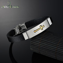 Nextvance – Bracelet en cuir, croix noire, or, Bff jésus Crucifix, amulette, cadeau de noël