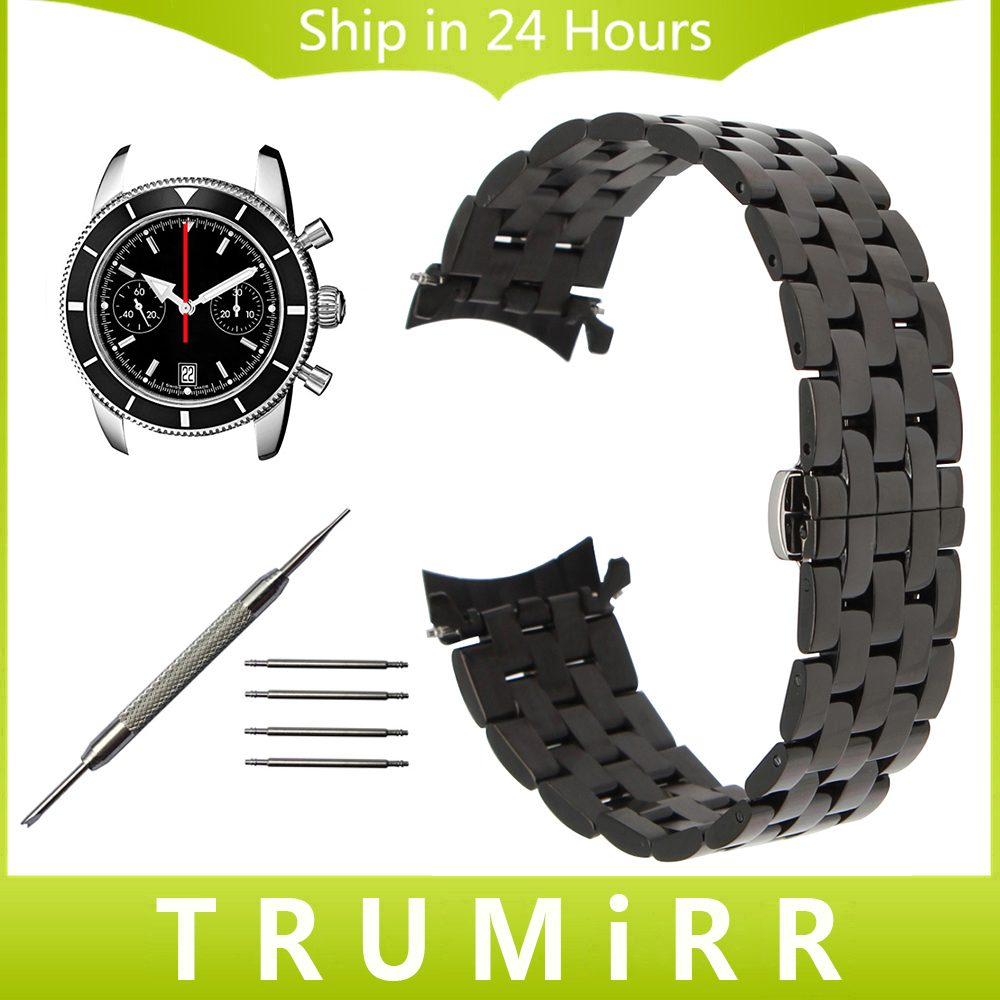 18mm 20mm 22mm 24mm Stainless Steel Watchband Curved End Strap for Breitling Men Women Watch Band