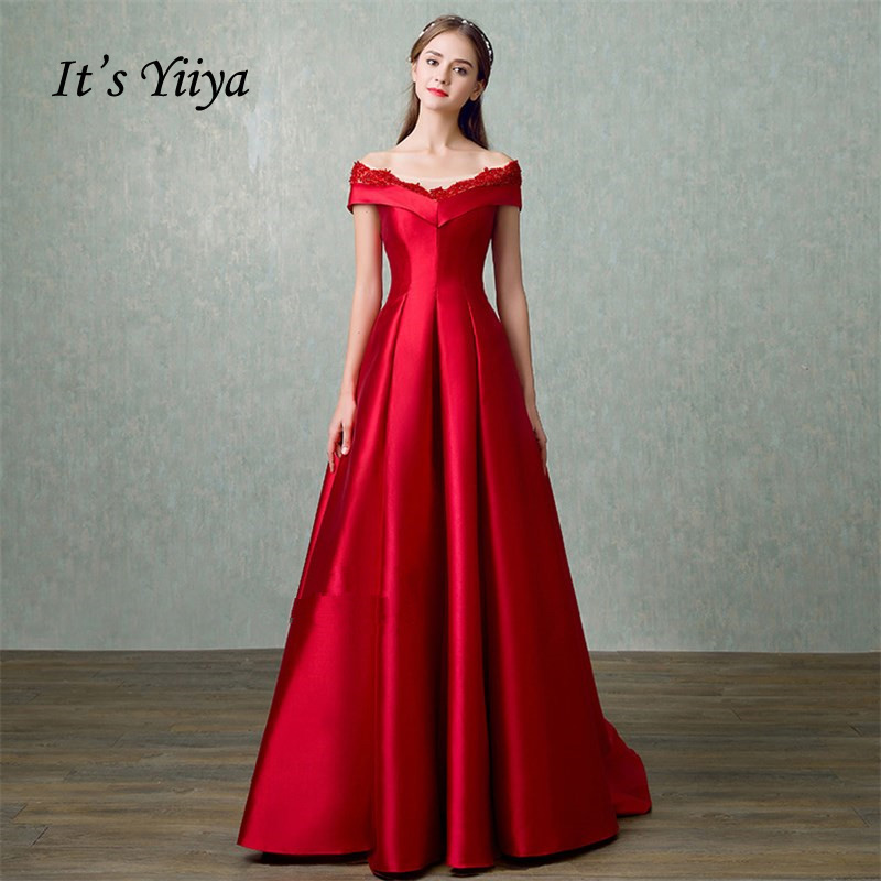 88df1bf364e5e It's YiiYa Red Hot Sleeveless Boat Neck Evening Dress Simple Bling Sequined  Floor Length Lace Luxury ...