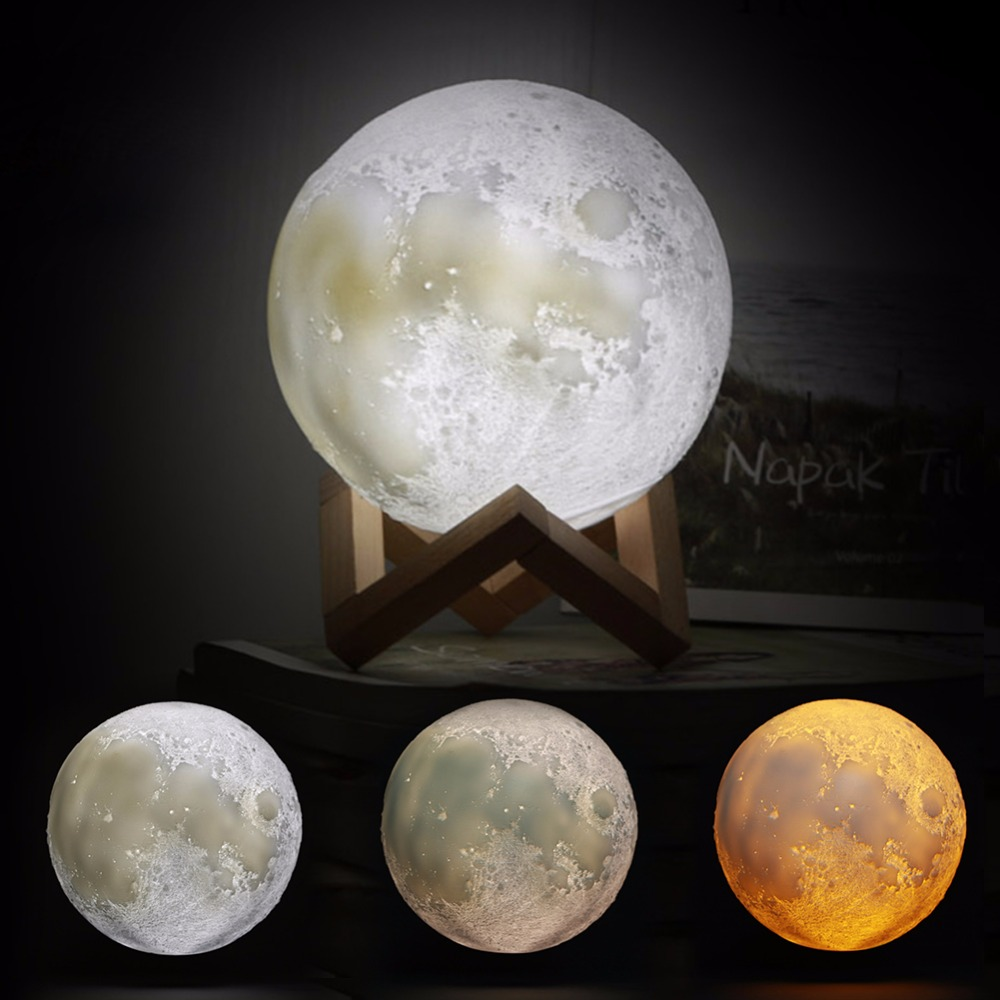 Rechargeable 3d Print Moon Lamp 3 Color Change Touch