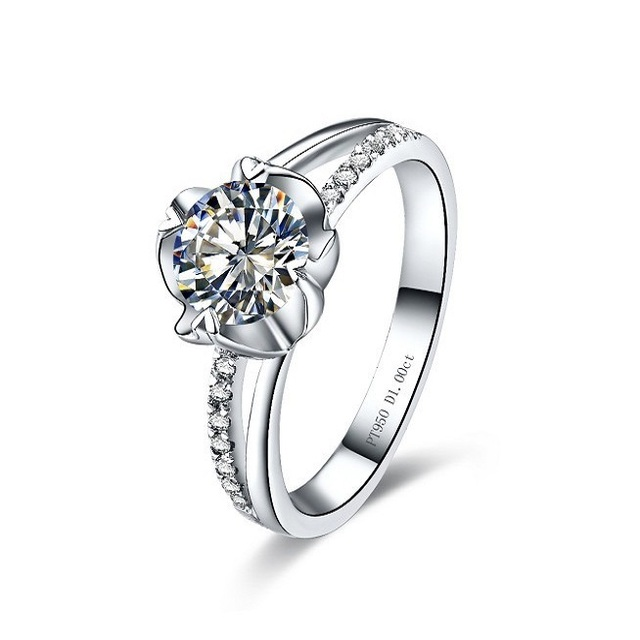 03aed1403 0.5Carat Vintage Flower Style Genuine Diamond Female Marriage Ring Pure  Au750 Gold Jewelry Never Fade Or Discolor