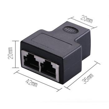 Black RJ45 Splitter Adapter 1 to 2 Dual Female Port CAT5/CAT 6 LAN Ethernet Sockt Network Connections Splitter Adapter P15