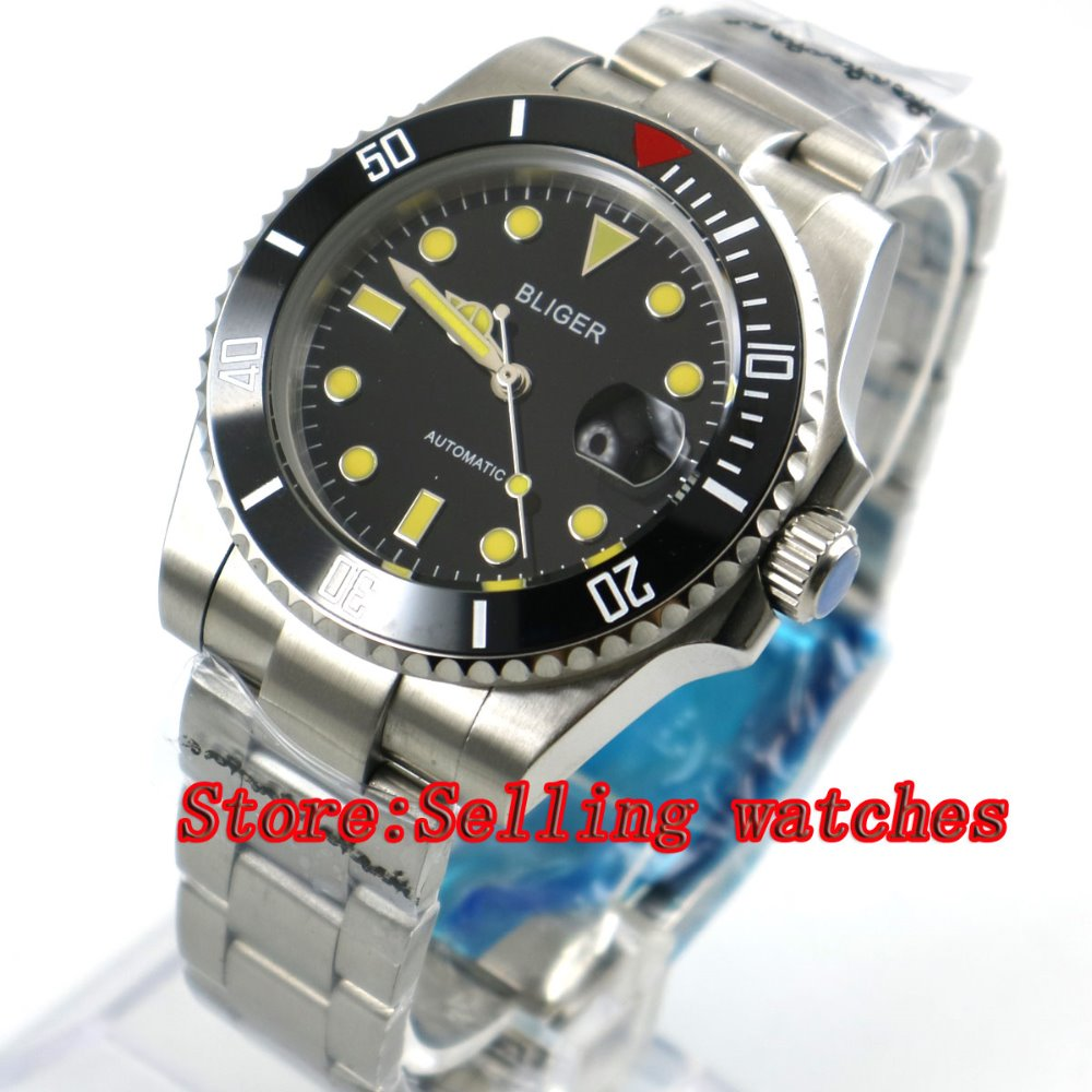 40mm Bliger black Dial ceramic bezel Stainless Steel Strap Sapphire Glass Automatic Movement Men's Mechanical Wristwatches p057 44mm bliger gray dial blue ceramic bezel sapphire crystal automatic movement men s mechanical wristwatches