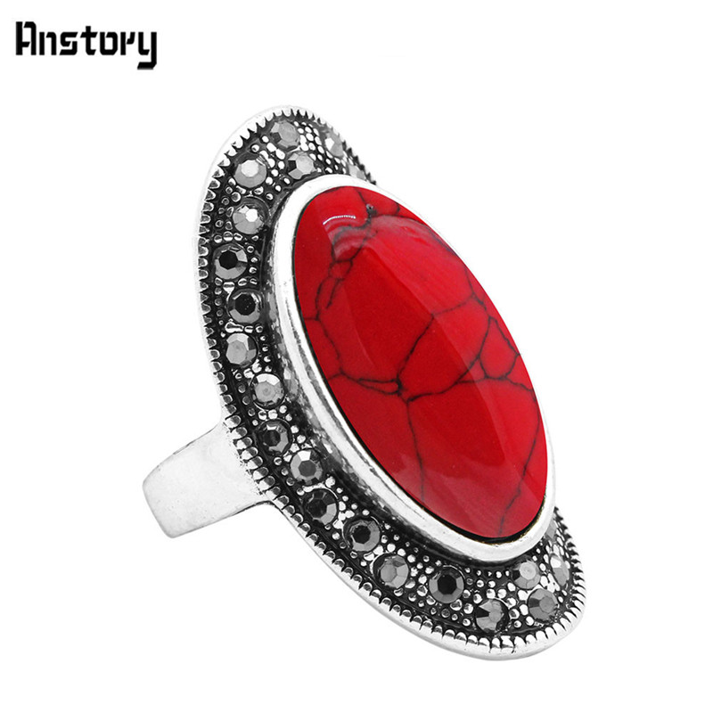 Aliexpress.com : Buy Big Oval Blue Red Stone Rings Vintage ...