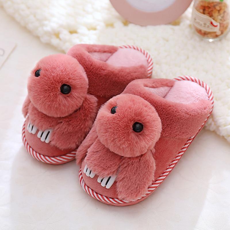 Winter Kids Slippers Girls Cartoon Rabbit Shoes Children Flip Flops House Home Baby Barefoot Shoes Warm Thicken Indoor Non-slip