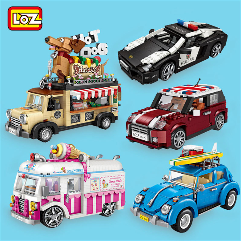 LOZ Blocks Ice Cream Truck Mini Car Toy Figurines Not Compatible Creator Technic mini building Series block Gift For Girl boys Vehicle Model Bricks Building Racing Sale Hotdog 1117