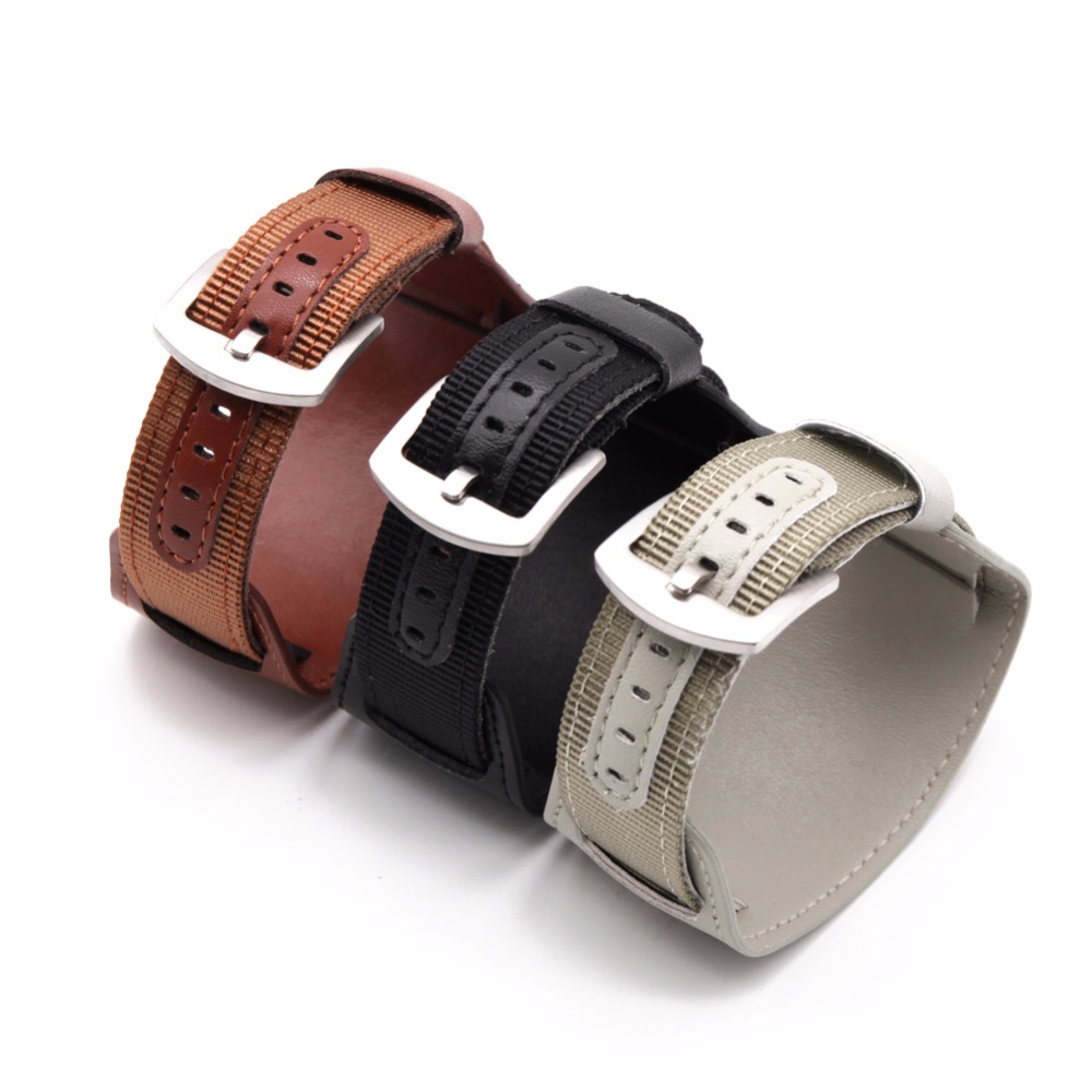 High quality Military Army Nylon <font><b>leather</b></font> Fabric Wrist <font><b>Watch</b></font> <font><b>Band</b></font> Strap 18 20 <font><b>22</b></font> 24 <font><b>mm</b></font> green Brown Black sport men women image