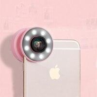 Usb LED Light Selfie Ring Light Phone Cases For IPhone 6 6S Plus Wide Angle Lens