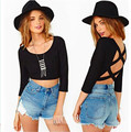 2016 new slim sexy new fashion open back long sleeve women t cross black spandex shirt tops Free Shipping