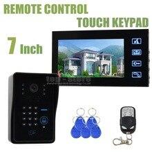 DIYSECUR Control Remoto 7 pulgadas LCD Video Puerta Del Timbre Del Teléfono del Sistema de Intercomunicación Con Código de Contraseña Lector de RFID Teclado Cámara de INFRARROJOS