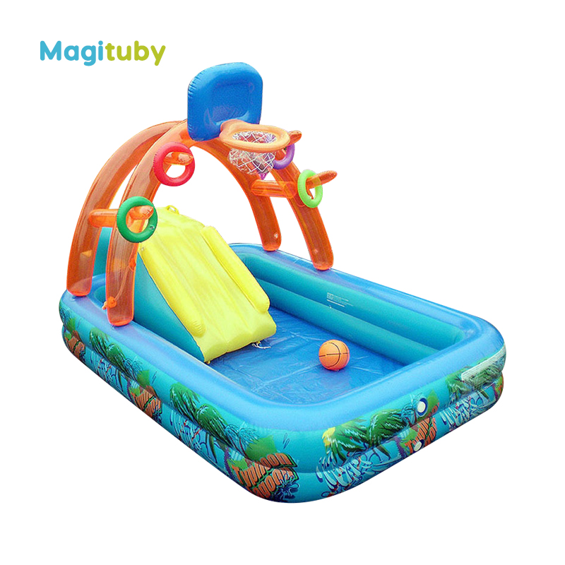 188cm Spring Eco-friendly PVC Kids Baby Inflatable Basketball Play Swimming Pool Piscina Children Kids Large Swim Boat S7001 381cm eco friendly pvc kids baby inflatable slide play swimming pool piscina children kids large swim boat s7010