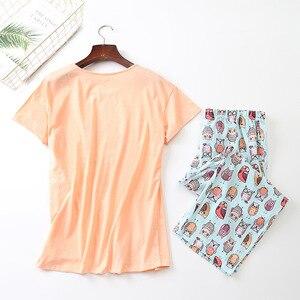 Image 2 - ใหม่ 2019 ฤดูร้อนผู้หญิงชุดนอนผ้าฝ้ายน่ารักพิมพ์นกฮูกชุดTop + Capris ElasticเอวPlusขนาด 3XL Lounge pijamas S92904
