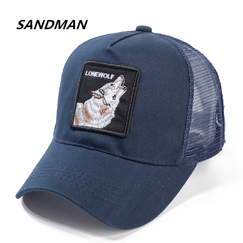 SANDMAN Lobo gorra de béisbol algodón malla transpirable Snapback gorras  Unisex sombrero de Sol de verano para Mujeres Hombres Hip Hop papá sombrero 69b6a25ebc7