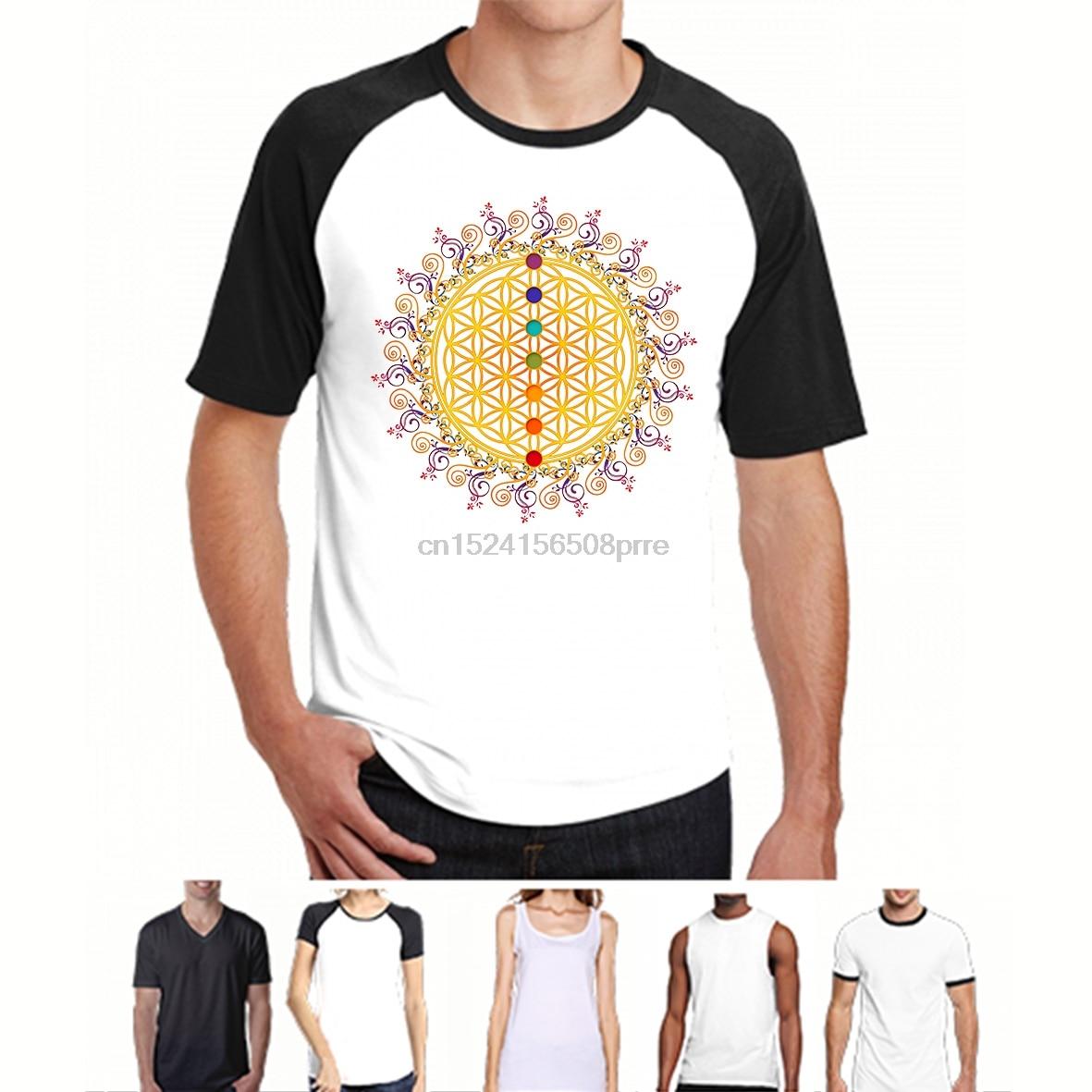 Fashion Cool Men T shirt Women Funny tshirt FLOR DE VIDA CHAKRAS espiritualidad yoga ZEN Customized Printed T-Shirt