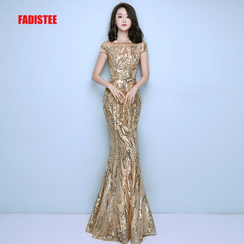 FADISTEE New Arrival Elegant Party Dress Evening Dresses Prom Bling Sequins Mermaid Gold Sashes Long Short Sleeves Simple Style